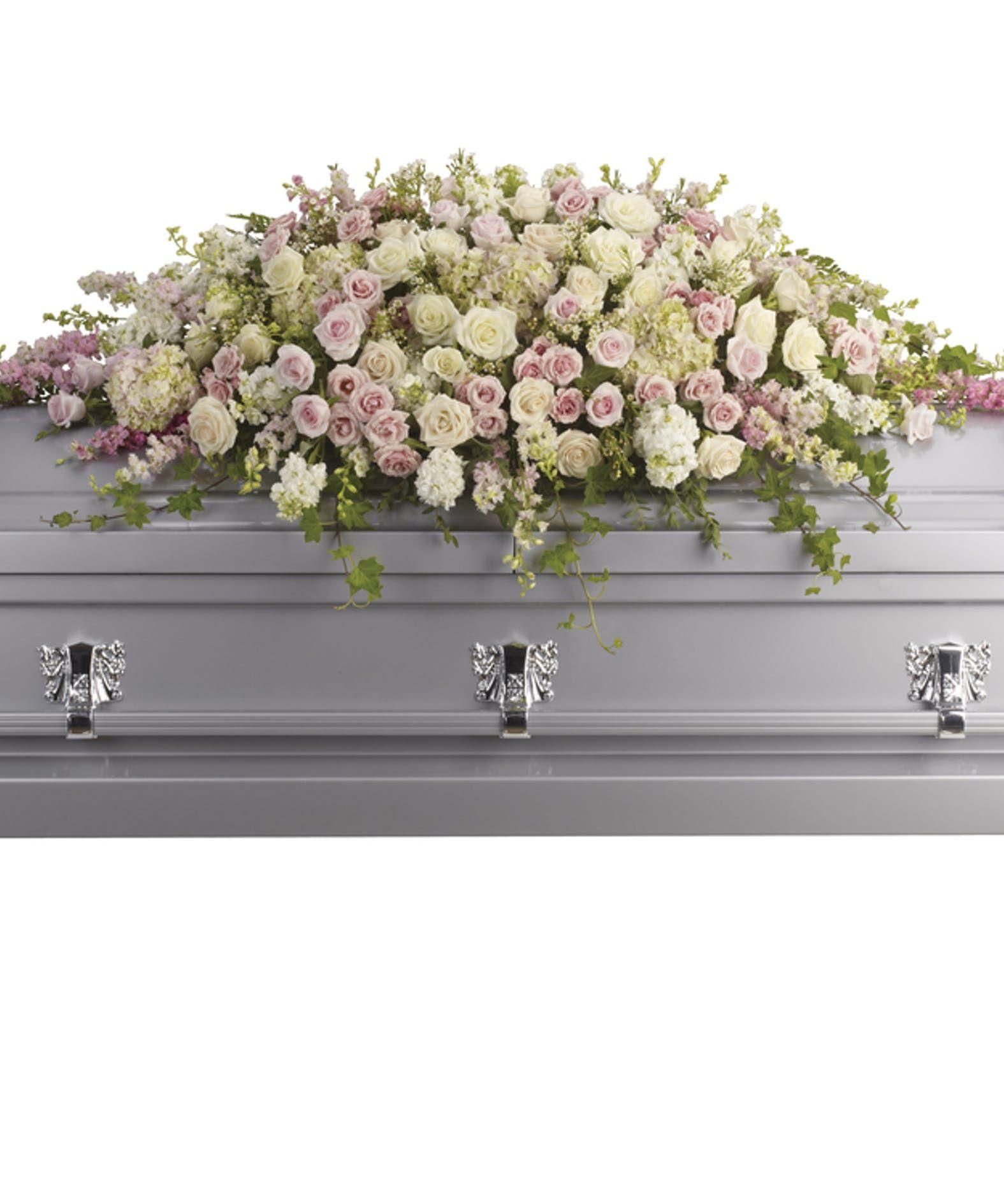 Always adored casket spray funeral flowers casket