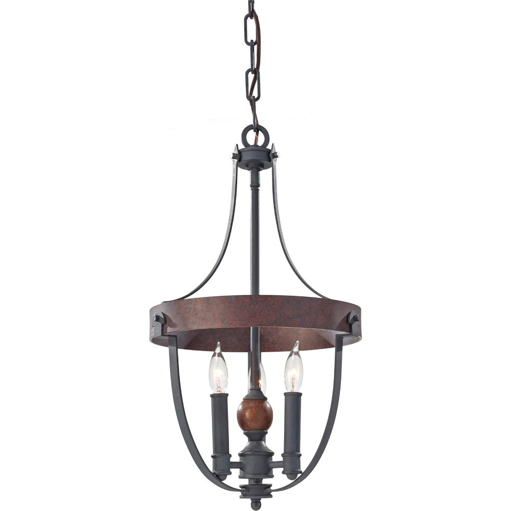 "F2795/3AF/CBA,3 - Light Single Tier Chandelier,AF/CHARCOAL BRICK/ACORN; 12""D x 21-1/4""H; feiss"