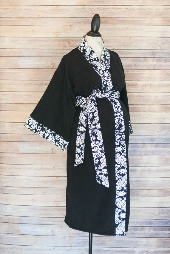 Add a Labor and Delivery Gown to Match Gray Damask Maternity Kimono Robe Super Soft Microfleece
