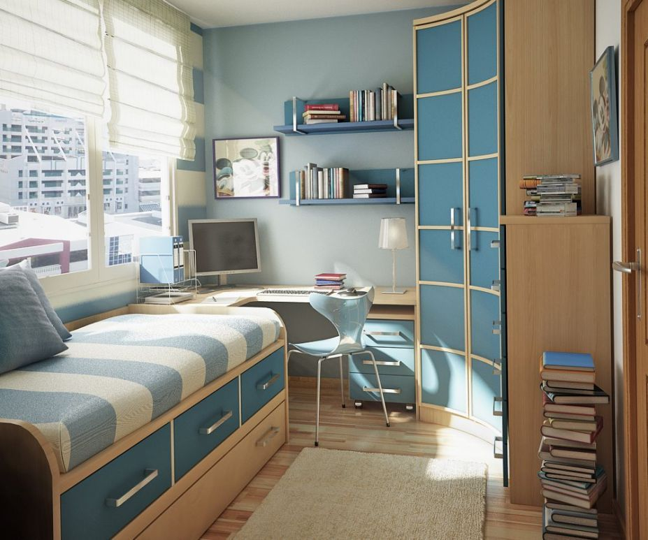 Interior, 11 Inspiring Closet Idea For Small Bedrooms: Awesome Blue ...