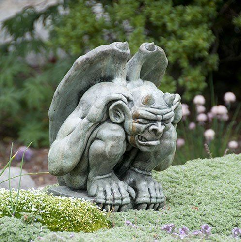 Giddian Gargoyle Stained Ornamental Concrete Statue For Garden Or