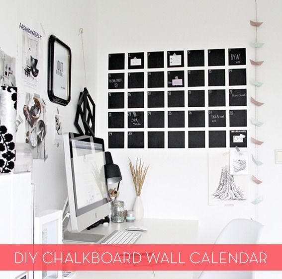 Make It DIY Modern Chalkboard Wall Calendar Pinterest