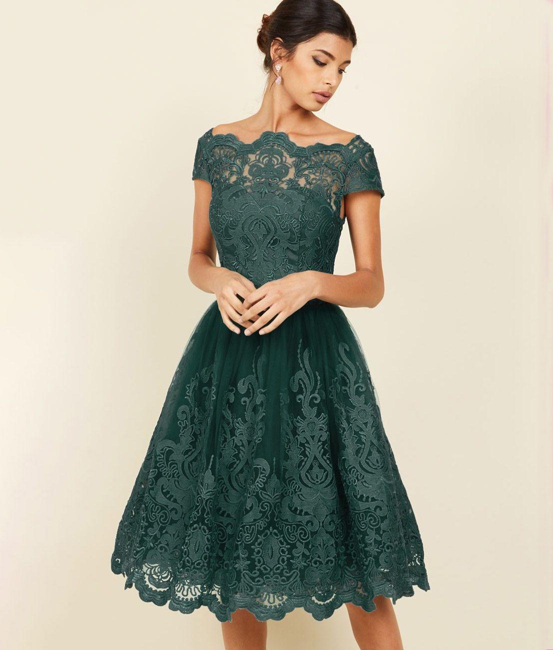 7574afaed3 Sukienka butelkowa zieleń koronkowa rozkloszowana midi balowa w 2019 ...