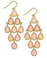Lauren Ralph Lauren Gold-Tone Stone Teardrop Chandelier Earrings