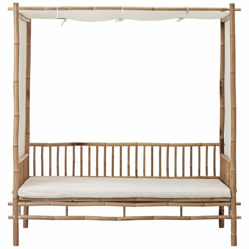 Canvas Covered Bamboo Cushioned Daybed