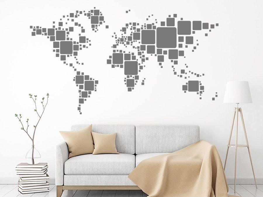 Retro Weltkarte Welt mit Quadraten Weltkarte, Wandtattoo und Retro - wandtattoo wohnzimmer retro