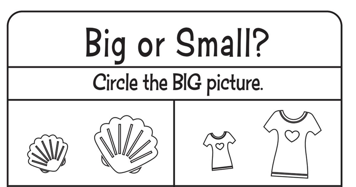 Big And Small Worksheets Pdf Preschool Worksheets Preschool Activities Big Picture