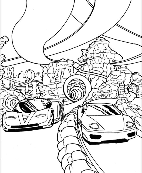 Two Car Sport Track Coloring Page - Race Car car coloring ...