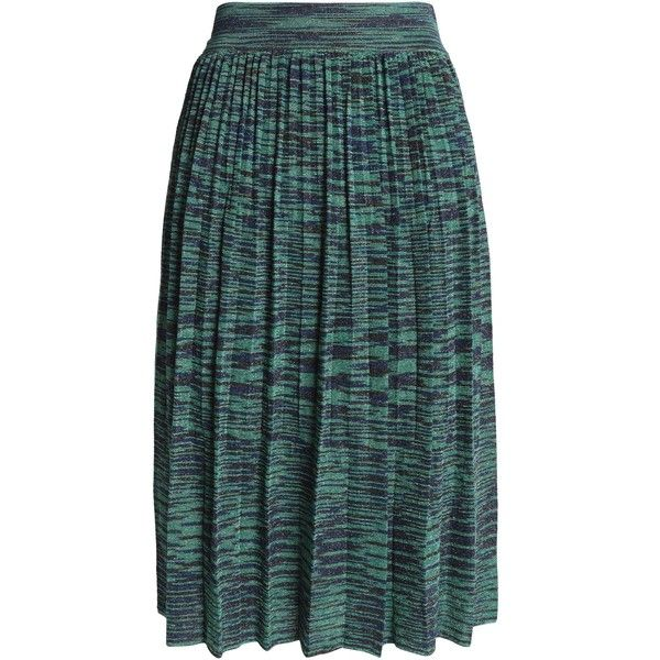 M MISSONI Pleated metallic crochet-knit skirt (900 PEN) ❤ liked on Polyvore