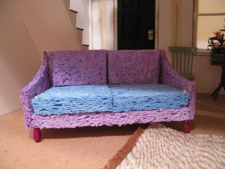 Barbie Sofa Built From Sponges And Then Covered With Fabric For A Sumptuous Sofa Diy Barbie Furniture Diy Dollhouse Furniture Barbie Furniture