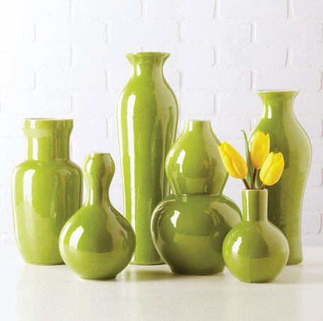 Vases, Beautiful Set of Green Porcelain Flower Vases, one of over 3,000 limited production interior design inspirations inc, furniture, lighting, mirrors, home accents, accessories, decor and gift ideas to enjoy repin and share at InStyle Decor Beverly Hills Hollywood Luxury Home Decor enjoy & happy pinning