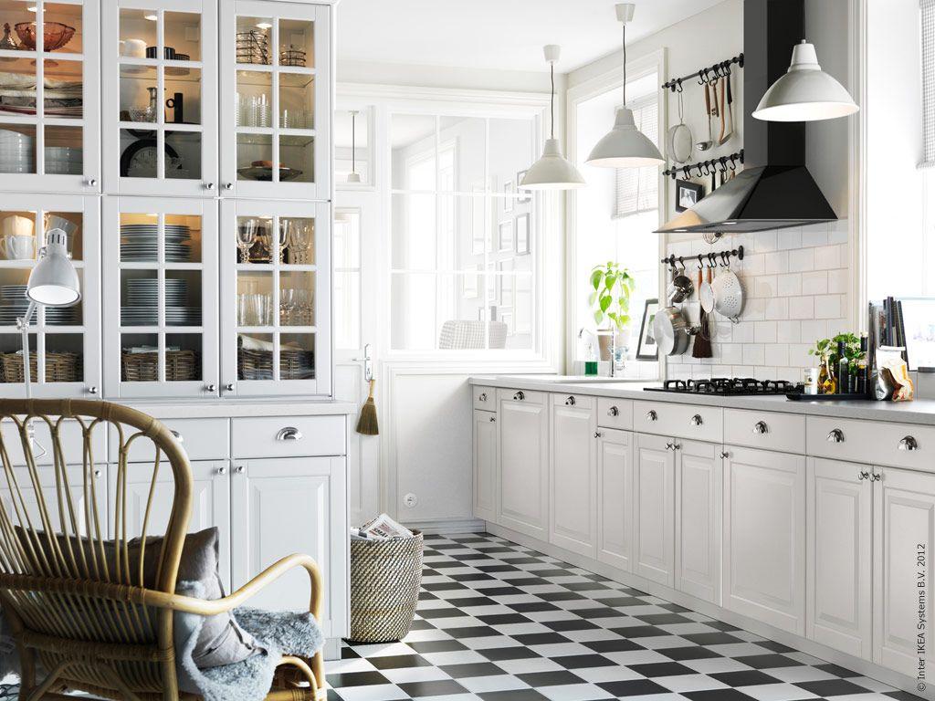 Ikea kitchen. White, black and dark grey stone, with wooden floor ...