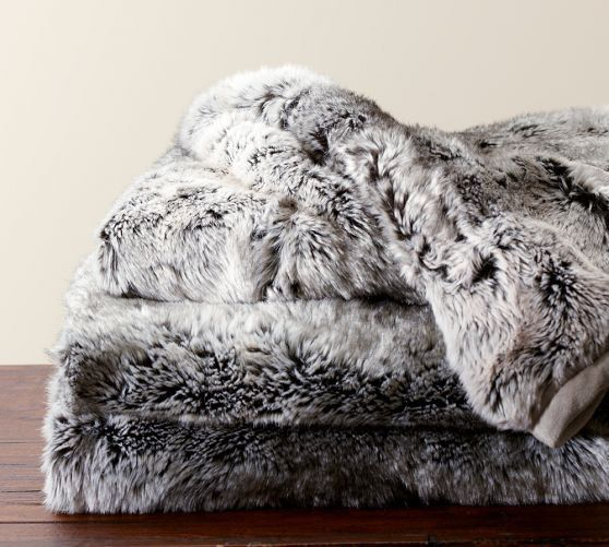 Chambre Cosy: Faux Fur Throw - Gray Ombre