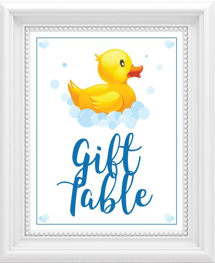 Geschenk Tischschild BabyDuscheZeichen Gummi Ducky Baby