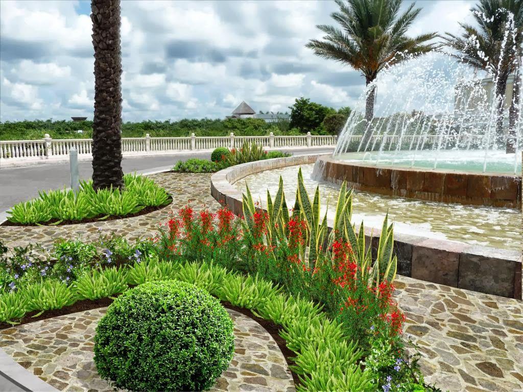 diseño jardín fuente - modelo arcos, piso piedra | jardín