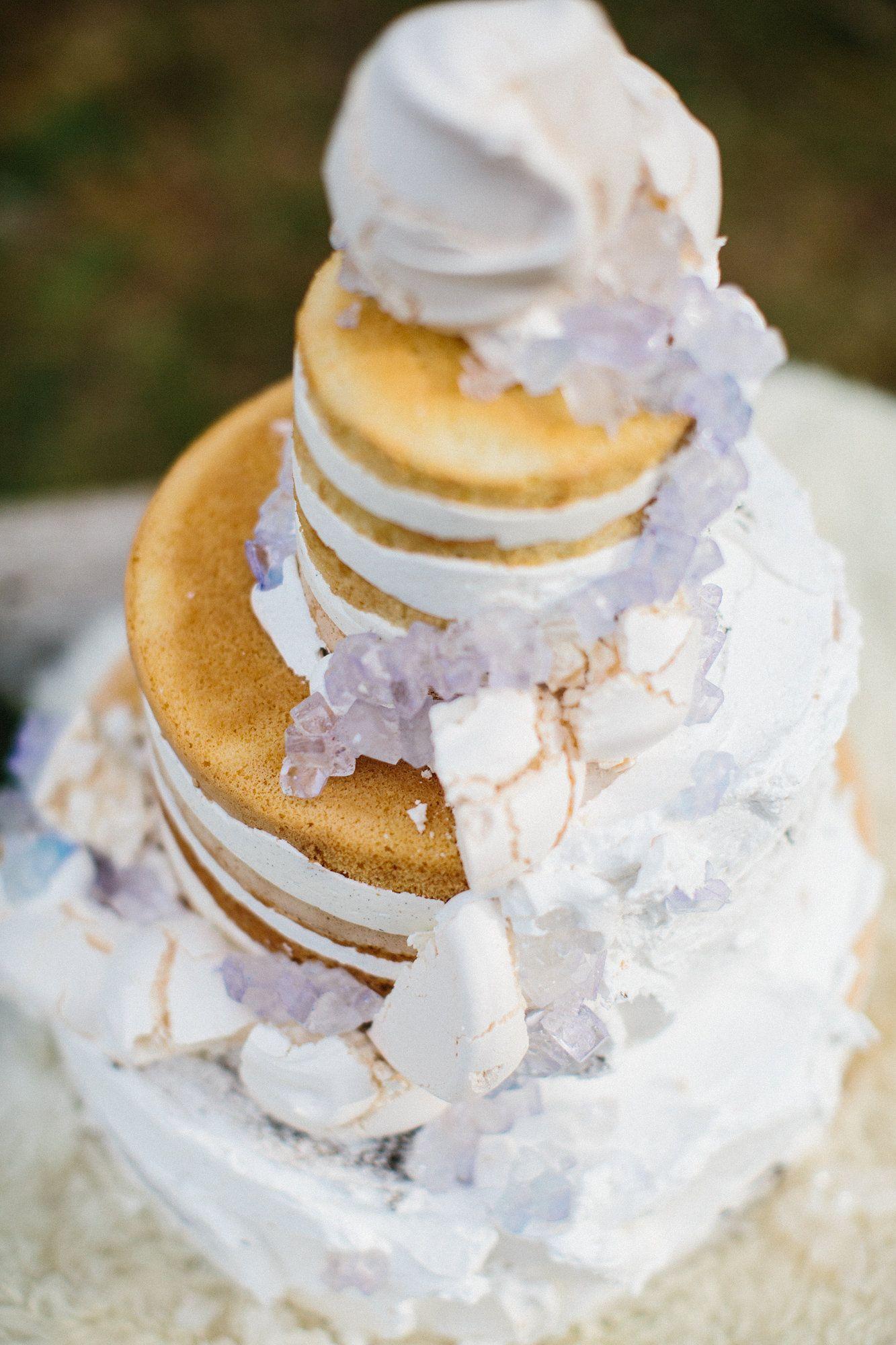 geode wedding cake, naked wedding cake. Those are edible, sugar ...