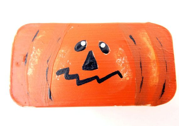 Painted Tin Halloween Pumpkin Gift Box.  Perfect by buttonsbyrobin, $3.99