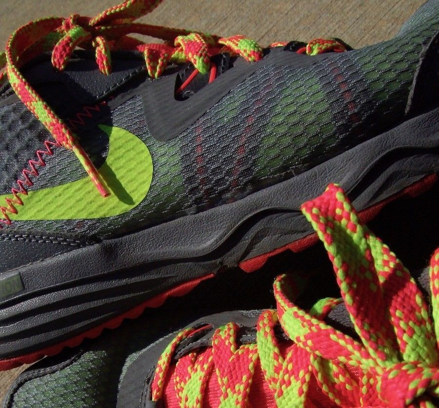 NIKE TRAIL Dual Fusion RUNNING Sneaker NEON Pink Green Grey Mesh Womens 8.5 M