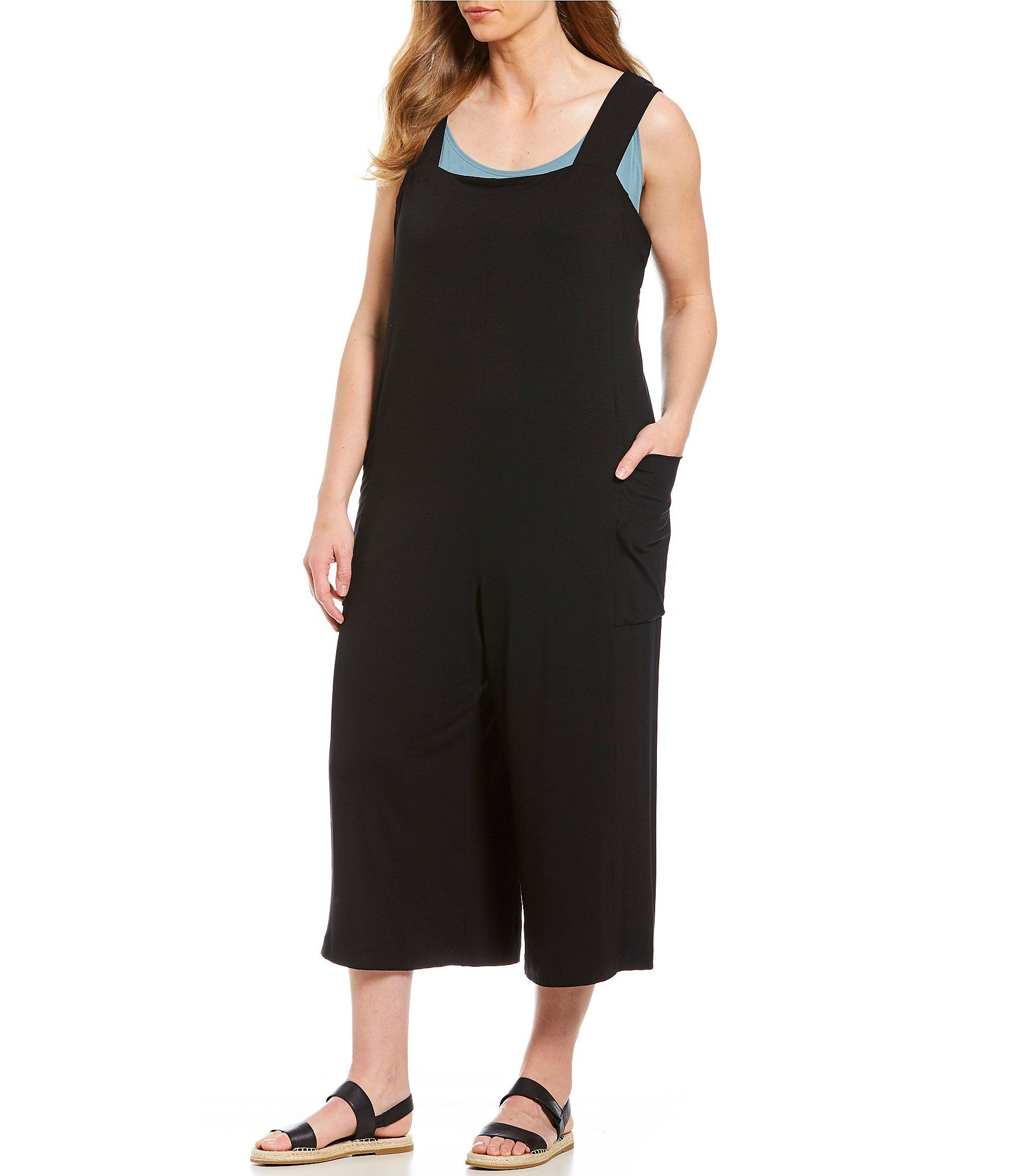 Eileen Fisher Plus Size Wide Strap Cropped Culotte Jumpsuit