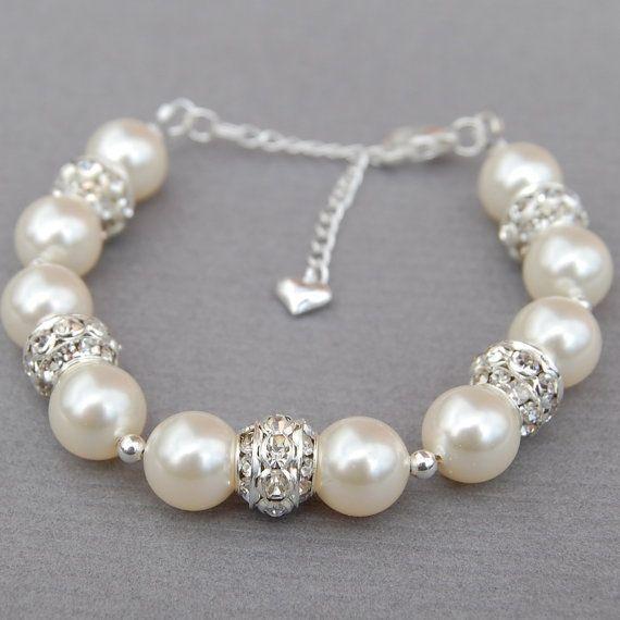 Ivory Pearl Wedding Bracelet, Brides Jewelry, Bridal Pearl Rhinestone Jewelry by zecsi