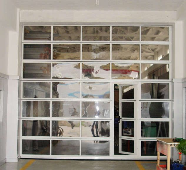Modern Garage Doors In An Astonishing Protection: Glass Garage Door With Pass Through