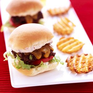 Make these restaurant-style mini burgers as a fun appetizer at your next party: http://www.recipe.com/mini-burger-party-platter/?socsrc=recpin041312miniburgers
