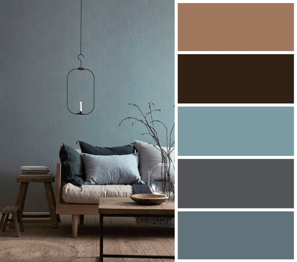 Grau Farbpalette: Wabi Sabi Farbpalette. Grau-blaue Farbpalette Mit …