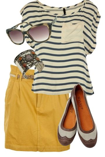 Skinny striped top, mustard skirt, spectator flats, fabulous sunnies & a rustic cuff!