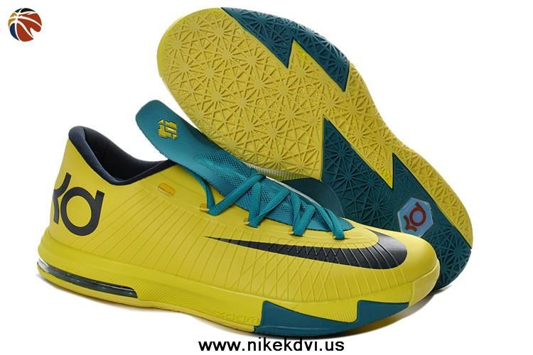 KD 6 Womens Chrome Yellow and Teal Navy 599424 700 Kevin Durant Basktball  Shoes