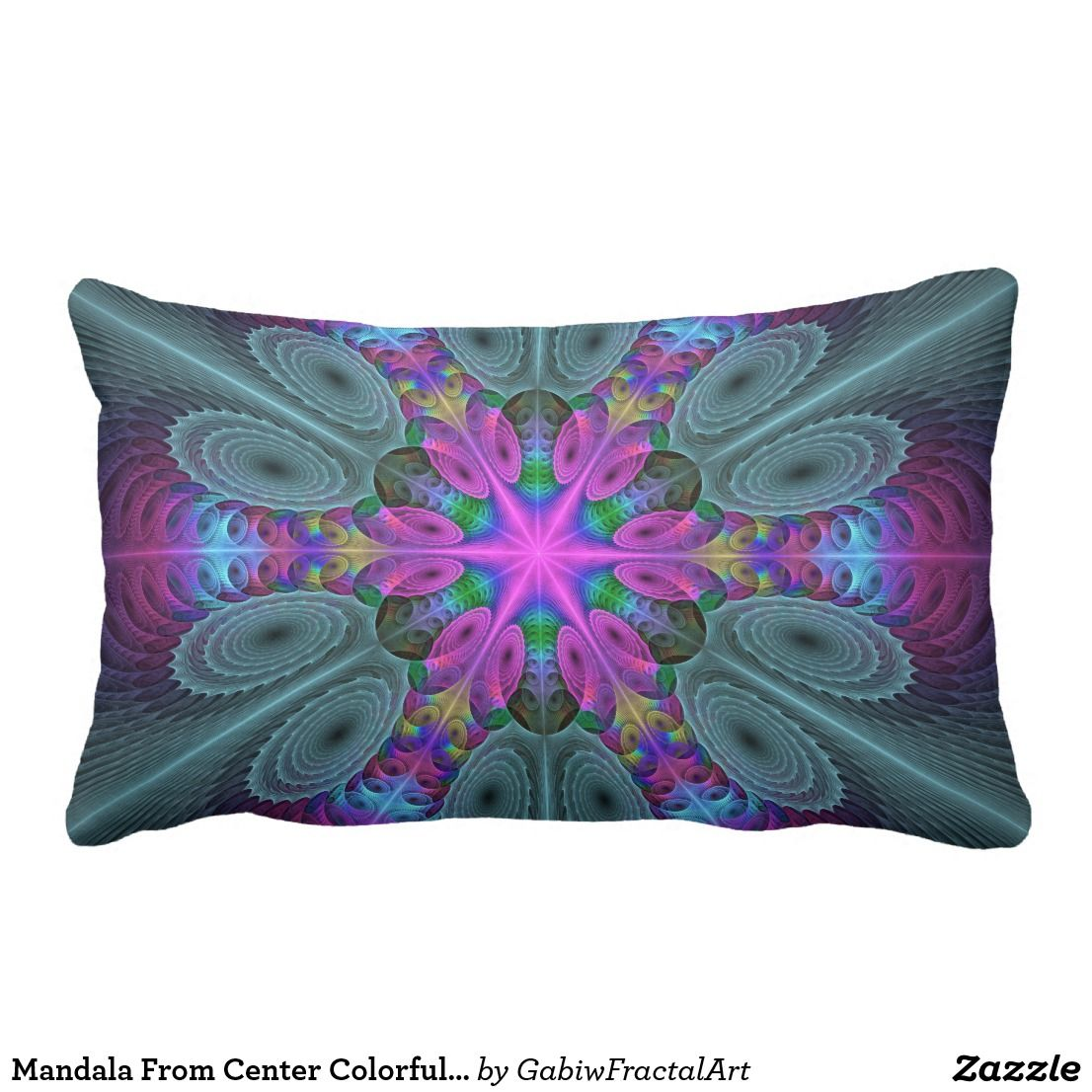 Dekokissen Bunt The Colorful Luminous Modern Abstract Fractal Art Lumbar Pillow In