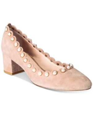 a1999bc476bc kate spade new york Maeve Pearl-Studded Block-Heel Pumps ...