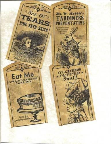 cr- Look Labels Alice in Wonderland Primitive Labels