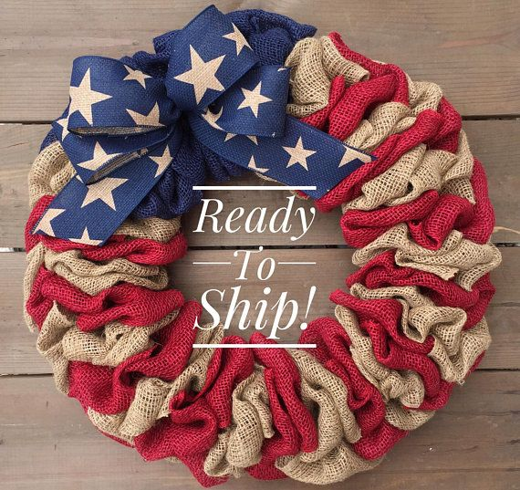 Photo of Wreath for Front Door | Patriotic Wreath | Memorial Day Wreath | July 4th Wreath | Front Door Wreath | Americana Wreath | Burlap wreath