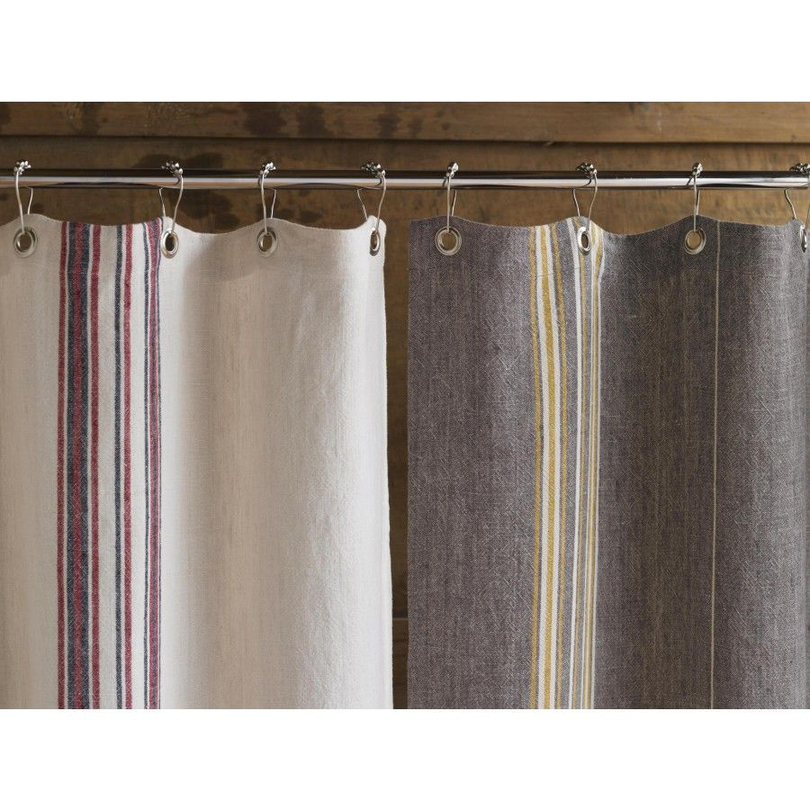 Coyuchi Rustic Linen Shower Curtain Color Gray Mustard Ivory