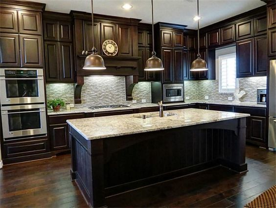 Beautiful Big Kitchen With Luxurious Dark Wood Cabinets Www