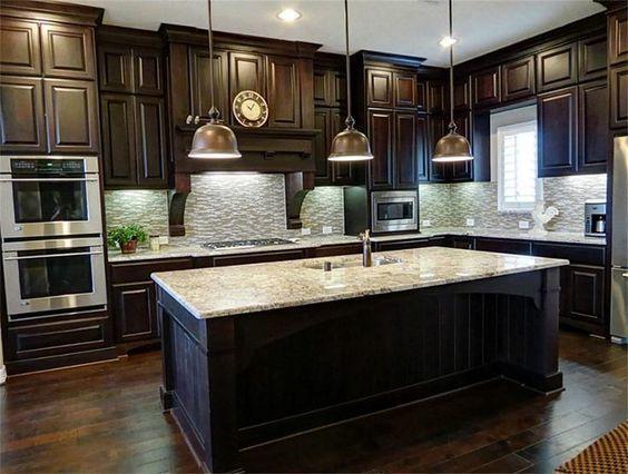 Beautiful Big Kitchen With Luxurious Dark Wood Cabinets Www
