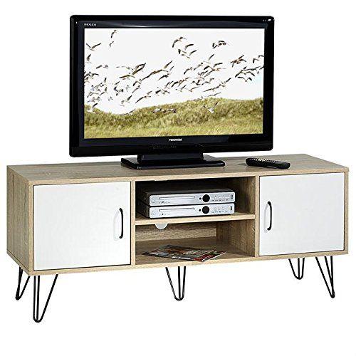 Meuble Banc Tv Design Eva Mdf Décor Blanc Et Chêne Sonoma Https
