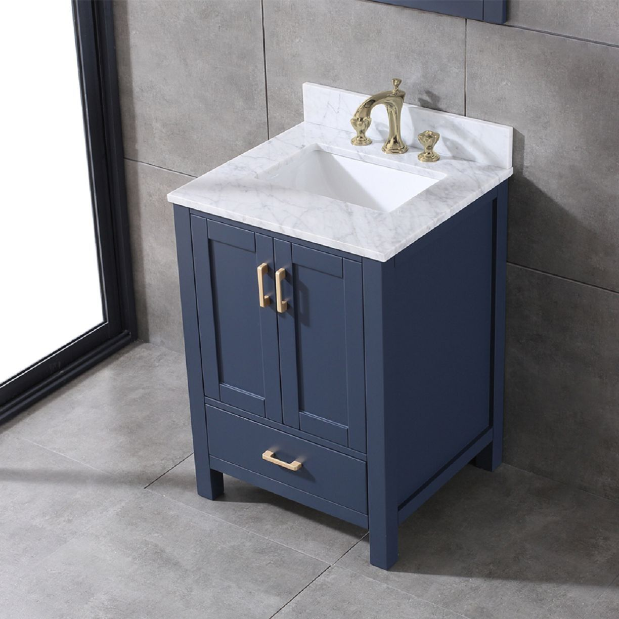 Bathroom Vanity In Navy Blue 24 In X 22 In With Gold Handles And Soft Close Drawers With Dovetail Blue Bathroom Vanity Bathroom Vanity Bathroom Vanity Cabinets