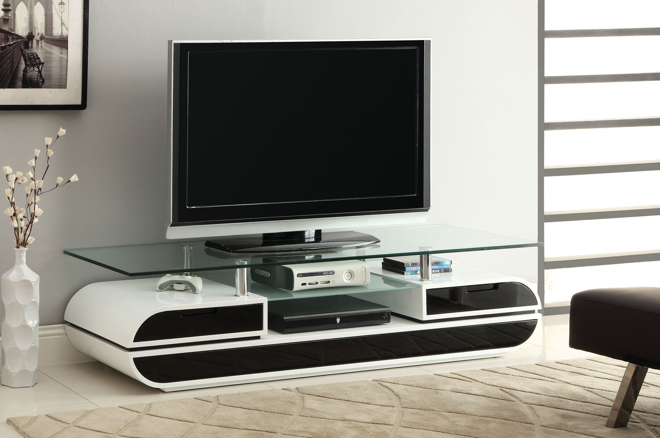 Furniture Of America Glenn Contemporary Tv Console Stand 63 Inch  # Meuble Tv Gamer
