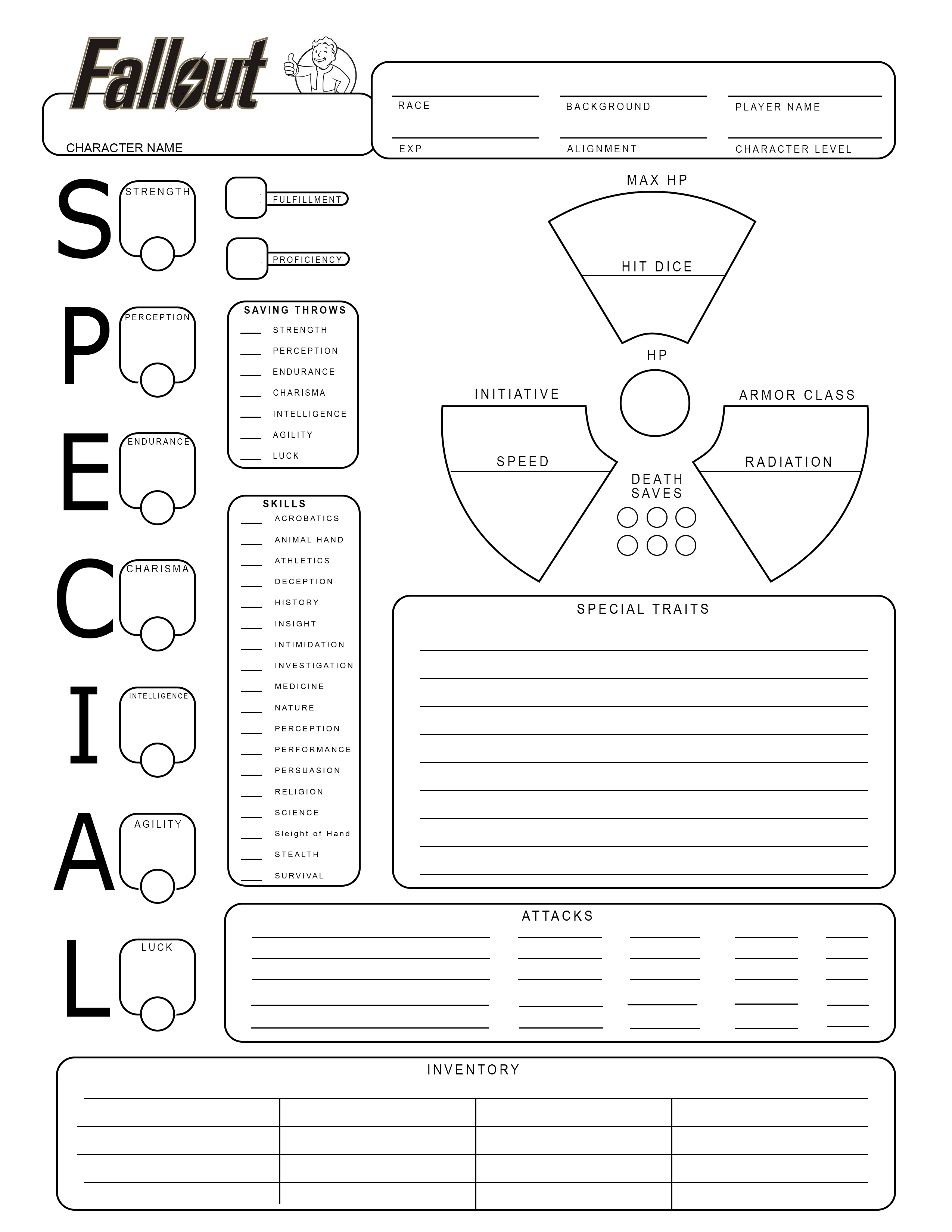 Fallout Style Character Sheets