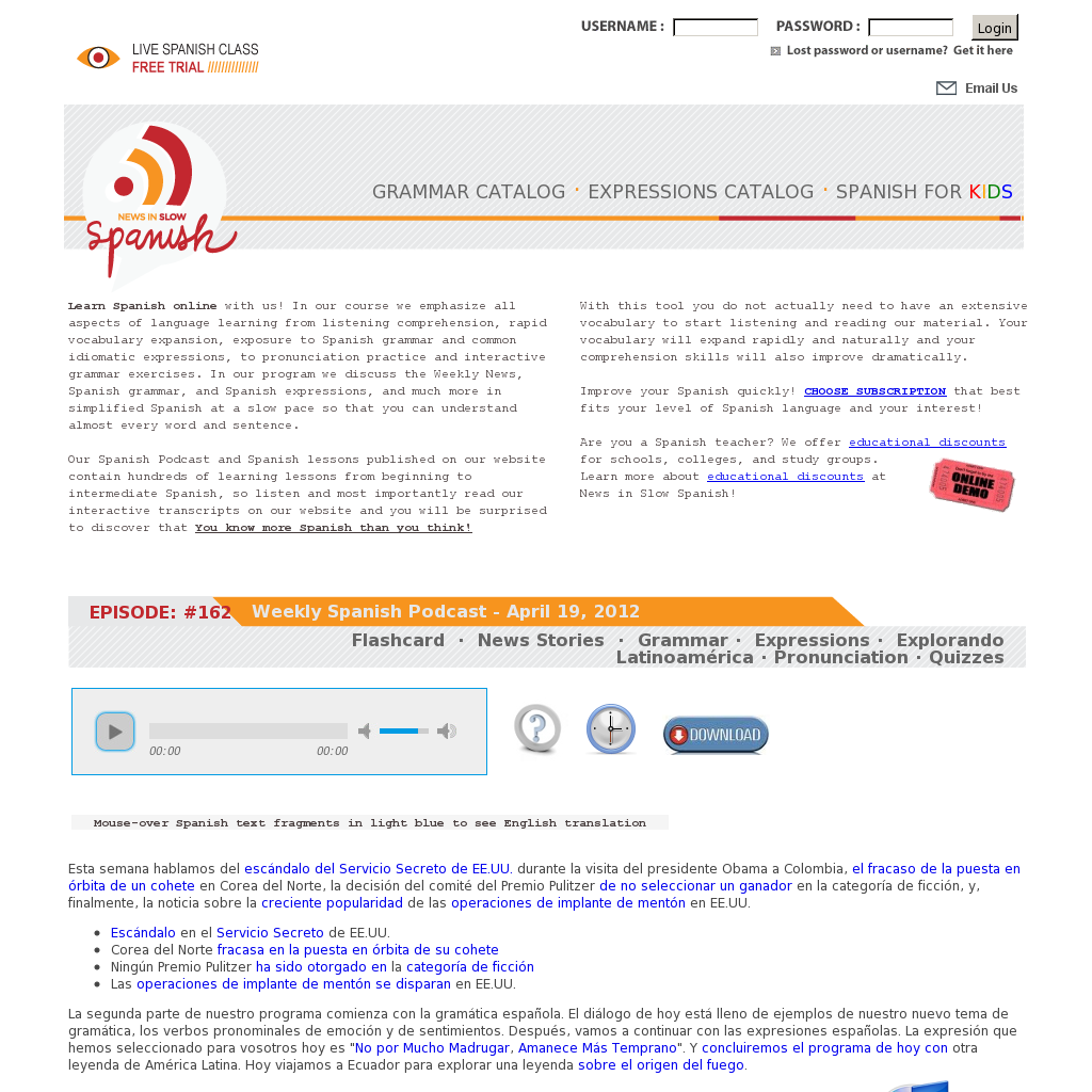 News in slow Spanish - a subscription site with some free