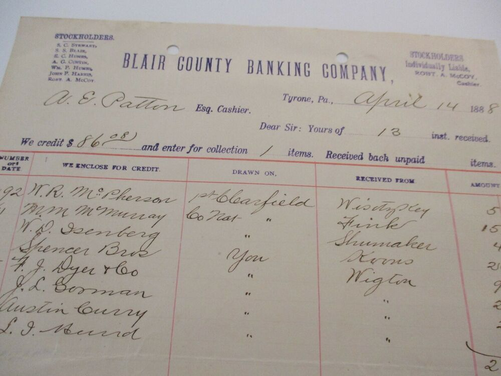 1888 Banking Bank Document Includes Notes Writing Analysis Details 19 Note Writing Writing Analysis