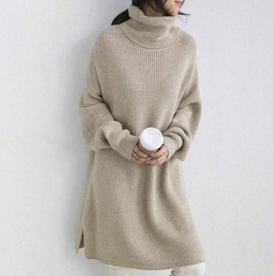 96bab25c372f Autumn And Winter Pure Color High Collar Loose Knitted Dress – Topjarashop Long  Sweaters For Women