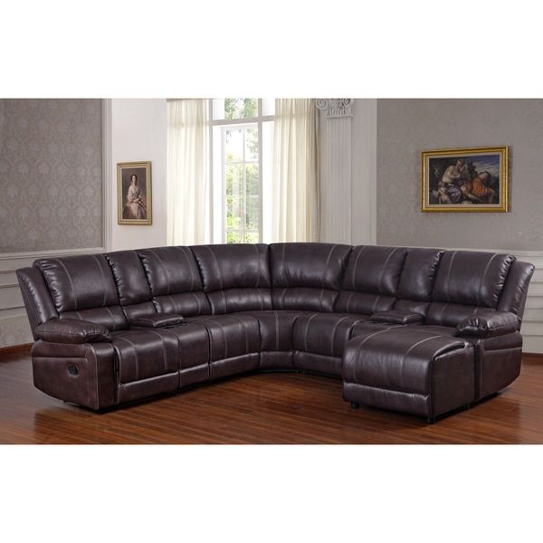 Surprising Donnie Brown Faux Leather Reclining Sectional Sofa With Pdpeps Interior Chair Design Pdpepsorg