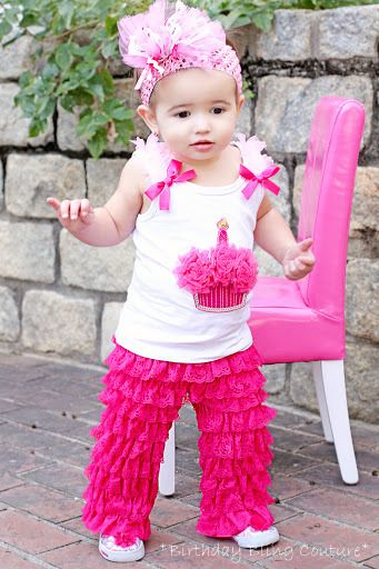 Girls BBC Birthday Hot Pink Sparkle Cupcake Pettipants Set