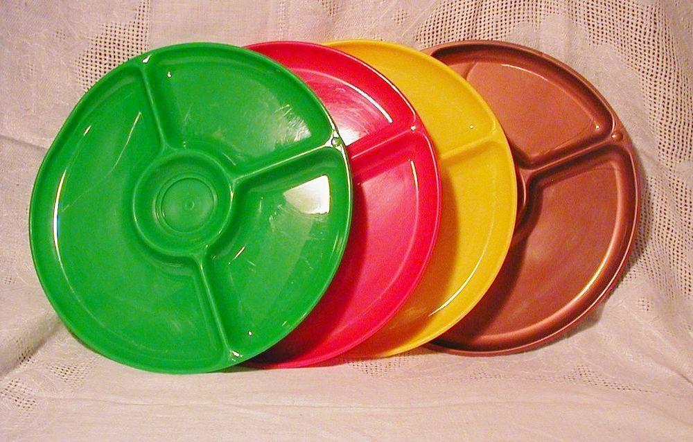 Gothamware Melmac 3 Plates 10 Inch 1950s Divided + 1 Picnic Camping Patio  USA