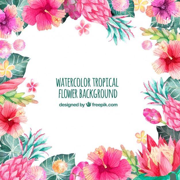 Telechargez Contexte Des Fleurs D Aquarelle Tropicales