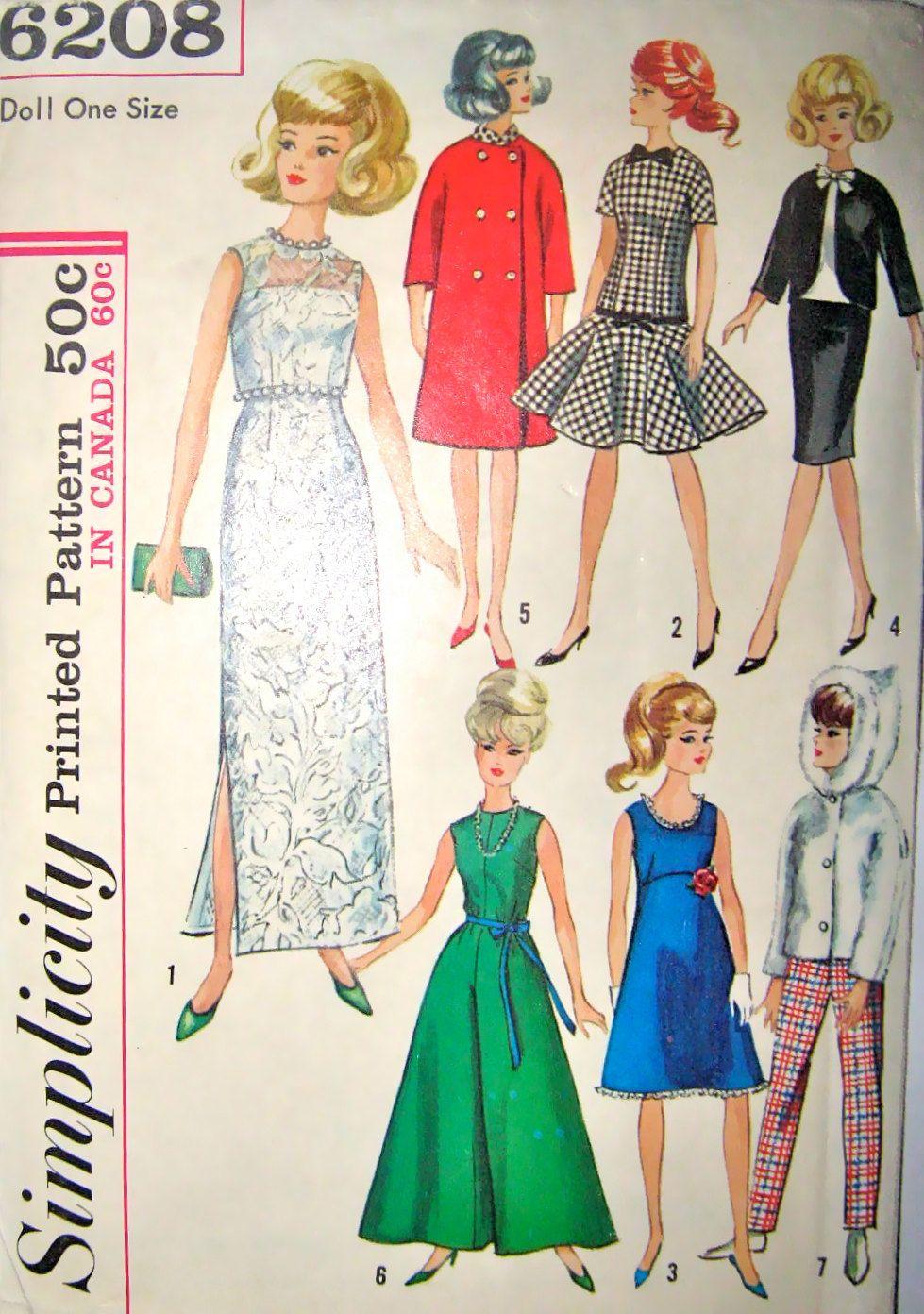 60s Barbie Dolls Wardrobe Simplicity 6208 Vintage Pattern,. $8.95 ...