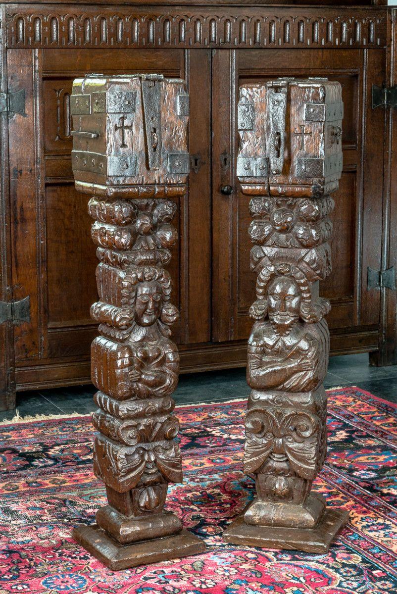 Pair Of Elizabeth I Oak Alms Boxes Marhamchurch Antiques Antiques Wood Art Oak