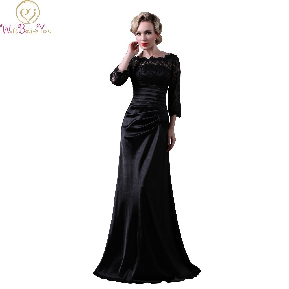 Walk beside you real picture black lace satin evening dresses
